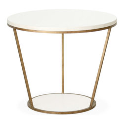 """Redford House Furniture - Redford House Blair Round Side Table - The Redford House collection of furniture and home decor reproductions marries style and function. The round Blair side table infuses simplicity with creativity for an impressive accent in the living room, den or office. Two wood circles are connected by a sleek metal frame to create the table's geometric form. This angular piece offers a choice of satin luster colors, metal finishes and distress markings created from a unique multi-layered lacquer and antiquing process. Its hand-finished nature and use of high-quality lacquer dye lots account for potential color and texture variances. 24""""Diameter x 20""""H."""