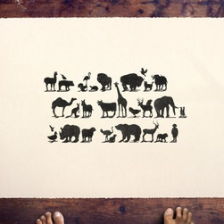 "FOOD by beauchamping on Etsy - If you look closely at this print, you'll notice the shadows spell out a phrase: ""Do not feed the animals the animals."" Could be a nice gift for the vegetarian or animal lover in your life."