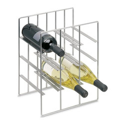 Blomus - Pilare Steel Wine Bottle Storage in Nickel - Holds 9 bottles. Made of steel, matte Nickel plated. 1-Year manufacturer's defect warranty. 11.06 in. L x 8.69 in. W x 15.04 in. H