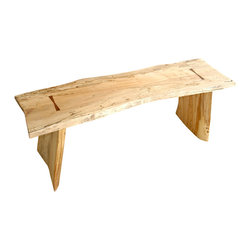 Vintbilt Design - Live Edge Maple Bench, Tigerwood Butterfly Joints - Vintbilt unites the organic look with precision tiger wood butterfly joints. To further add to visual interest, the legs are beveled at subtle angles. All joints are mated with structural tenons. This is an indoor product and will brighten up any room. Comes with mar resistant adjustable feet. This product ships assembled. The finish is water clear.