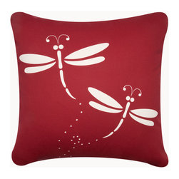 Dragonfly Garden Throw Pillows - Our colorful dragonfly decorative throw pillows in crimson on cream provide a cheerful garden accent for a porch or sun room. Designed, hand printed, and fabricated in America.