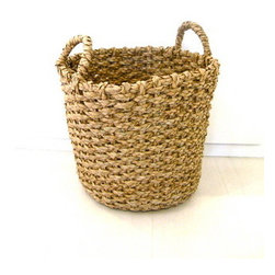 Round Handle Basket: Large - A big basket next to the bed for stashing blankets and magazines is an essential in every bedroom.