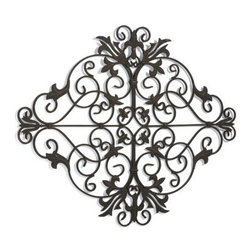 Grandin Road - Lucca Outdoor Metal Art - Open-back design lets the texture and color of your wall shine through. Handcrafted iron construction resembles antique ironwork. Outdoor-ready, black powdercoat finish. Display indoors or out. Integrated hangers for vertical or horizontal hanging. Stylized lilies and acanthus leaves unfurl in our oversized, dimensional scrollwork composition that adds extra flair to any outdoor room. . . . . .