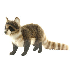 Hansa - Hansa Raccoon - Hansa Raccoon Standing is made of gray, black and white plush with striped, bushy tail. Ages 3 and up. Airbrushed for detail.