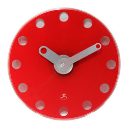 Infinity Instruments, Ltd. - Infinity Instruments Accent Wall Clock, Red - Infinity Instruments Accent is an Infinity custom designed modern style clock.  A perfect clock for sleek modern and / or contemporary home or office décor.  This stylish clock is made of tempered glass with custom designed metal hands.