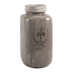Brocade Large Vase - This stoneware jar vase is imprinted with a Fleur-de-Lis brocade inspired coat of arms for an understated statement of heraldry.