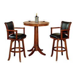 Hillsdale - Hillsdale Park View 3-Piece Pub Table with Stools in Medium Brown Oak - Hillsdale - Pub Sets - 4186PTBS - The Hillsdale Park View Pub Table and Bar Stools set is constructed from solid woods climate controlled wood composites and veneers in an elegant medium brown oak finish. The pub table features a round shaped wood top and a classic pedestal base. The bar stools feature deep brown leather seat cushions and backs with swiveling capabilities for comfort and relaxation. Add traditional charm to your game room or kitchen with the Park View Pub Table and Bar Stools set.
