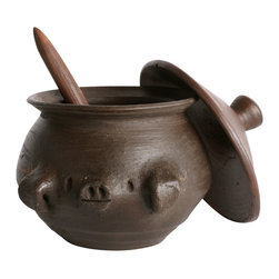 Solay Wellness dba So Well - So Gourmet Pomaireware Salt Pig with Lid and Spoon - Cute and very well made like all of our clay products, and comes with its own spoon and lid. Great for salt, candy, condiments and more.