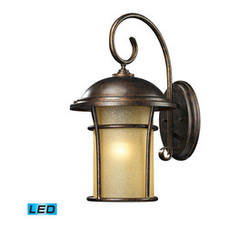Elk Lighting - EL-45037/1-LED Bolla Vista LED 1-Light Outdoor Sconce in Regal Bronze - With a tuscan villa influence, this Outdoor Collection has a single cylindrical amber glass that casts a warm glow adding charm to your outdoor ambiance. Its flared frame has an unencumbered design with a regal bronze finish. - LED offering up to 800 lumens (60 watt equivalent) with full range dimming. Includes an easily replaceable LED bulb (120V).