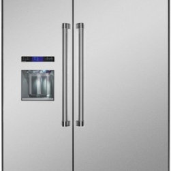 Thermador - 48 inch Built-In Side-by-Side T48BD820NS - We put convenience first when we designed our side-by-side refrigerators. With fully-adjustable glass shelves and easy electronic control, all of our side-by-sides can be ordered with an optional ice and water dispenser.
