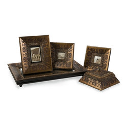 iMax - iMax Baroque Inspired Framed Collection X-5-09012 - Set of five baroque frame collection includes two picture frames, a clock frame, a box and a mirrored tray.