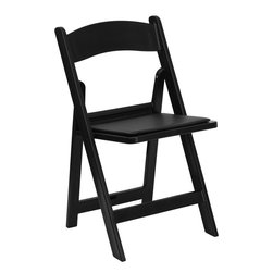 Flash Furniture - Flash Furniture Hercules Series 1000 lb. Capacity Black Resin Folding Chair - This Hercules Series Folding chair features a 1000 lb. weight capacity so that you can be assured that it will accommodate any function. From indoor or outdoor weddings to other upscale events, this resin folding chair will never let you down. featuring a padded vinyl seat, our black folding chair will provide an excellent solution to all your event planning needs. [LE-L-1-BLACK-GG]