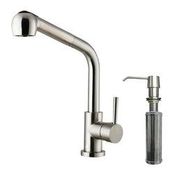 Vigo - Vigo Pull-Out Spray Kitchen Faucet with Soap Dispenser (VG02019STK2) - Vigo VG02019STK2 Pull-Out Spray Kitchen Faucet with Soap Dispenser, Stainless Steel