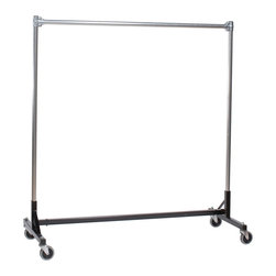 "Quality Fabricators - H-Rack - Heavy Duty Single Rail w/ 60"" Uprights Black - This H-Rack is designed to hold up to 500 lbs of apparel, while maximizing all five feet of length. And because the two rows are placed on top of each other, the rack will not tip under a heavy load."