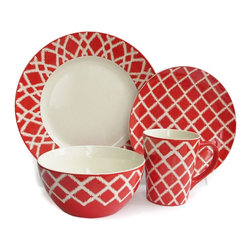 American Atelier - American Atelier Plaid Red 16 Piece Dinnerware Set - 5521-16RD - Shop for Sets from Hayneedle.com! The American Atelier Paid Red 16 Piece Dinnerware Set has an artisan-made feel and vibrant color that you'll enjoy at every meal and special occasion. The glazed stoneware with red and white plaid pattern brings an artful eye-catching design to your dinner table and the selection included is quite versatile. This set comes with enough pieces to service a group of four with 4 bowls 4 mugs 4 salad plates and 4 dinner plates.Set Includes:Dinner Plate Dimensions: 10.75 inchesSalad Plate Dimensions: 8.5 inchesBowl Dimensions: 6.25 inches