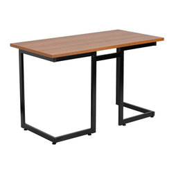 Flash Furniture - Flash Furniture Computer Desk with Black Frame in Cherry - Flash Furniture - Computer Desks - NANJN2811GG - This large surface writing desk will provide you enough space for your laptop and writing materials. The simple design of this desk allows it to easily fit into any work space.