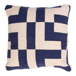"Jaipur - Corsica Pillows, Navy/Steel, Set of 2, 18""x18"" - This funky range of pillows in poly dupione uses rich jewel tones expressed in a highly textural and fun way. Perfect for a touch of retro glamour in your home."