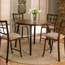 Sunset Trading - 5-Pc Pub Set - Includes one pub table and four stools. Everlasting design. Warranty: One year. Made from steel construction frame with an Formica top. Made in USA. Brown finish and steel frame color. Assembly required. Pub table: 45.25 in. Dia. x 34.5 in. H (55.29 lbs.). Stool: 22.75 in. W x 18.75 in. D x 40.25 in. H (20.37 lbs.)This beautifully designed furniture supplied by Sunset Trading will assure you many years of use and enjoyment. Comfortably casual yet contemporary and sophisticated, the Gunstock Pub Set from Sunset Trading. is perfect for dining and entertaining with your family and friends. Versatile for use in your dining area, family room or media/game room.