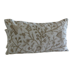 Crewel Pillow Sham Tree of Life Neutrals on Off White Cotton Duck King