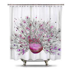 Shower Curtain HQ - Catherine Holcombe Pink Peacock Fabric Shower Curtain, Extra Long - This pink peacock shower curtain against a white background will add waterproof art to your bathroom. This unique shower curtain is made in the USA and a portion of every sale goes back to the artist.
