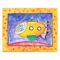 Oh How Cute Kids by Serena Bowman - Yellow Spaceship, Ready To Hang Canvas Kid's Wall Decor, 8 X 10 - Every kid is unique and special in their own way so why shouldn't their wall decor be so as well! With our extensive selection of canvas wall art for kids, from princesses to spaceships and cowboys to travel girls, we'll help you find that perfect piece for your special one.  Or fill the entire room with our imaginative art, every canvas is part of a coordinating series, an easy way to provide a complete and unified look for any room.