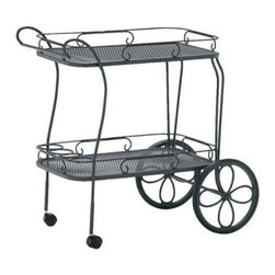 Woodard Wrought Iron Mesh Tea Cart with Removable Serving Tray - Whether it's tea and petit fours or lemonade and cookies, the Woodard Wrought Iron Mesh Tea Cart with Removable Serving Tray lets you serve it in style. Sure to be as big a hit with your guests as your choice of refreshments, this cart is sturdily constructed of fully welded wrought iron and sports two woven mesh trays with elegant scroll details. Two large wheels and two casters let you take this serving cart anywhere you want to. Available in a choice of powder-coated finishes, this cart will not rust, peel, or blister even after years of use. Made by Woodard, the leader in outdoor wrought iron furniture, this patio serving cart lives up to the Woodard name and makes its presence felt in any setting.Important Notice:This item is custom-made to order, which means production begins immediately upon receipt of each order. Because of this, cancellations must be made via telephone to 1-800-351-5699 within 24 hours of order placement. Emails are not currently acceptable forms of cancellation. Thank you for your consideration in this matter.Woodard: Hand-crafted to Withstand the Test of TimeFor over 140 years, Woodard craftsmen have designed and manufactured products loyal to the timeless art of quality furniture construction. Using the age-old art of hand-forming and the latest in high-tech manufacturing, Woodard remains committed to creating products that will provide years of enjoyment.Superior Materials for Lasting DurabilityEach piece in the Classics Collection is hand-formed using solid wrought iron stock: the heaviest available. The technique used to create Woodard wrought iron furniture has been handed down from generation to generation. To this day, expert workers use anvils and hammers to forge intricate detail in the iron.Fabric, Finish, and Strap FeaturesAll fabric, finish, and straps are manufactured and applied with the legendary Woodard standard of excellence. Each collection offers a variety of frame finishes that seal in quality while providing color choices to suit any taste. Current finishing processes are monitored for thickness, adhesion, color match, gloss, rust-resistance and, and proper curing. Fabrics go through extensive testing for durability and application, as well as proper pattern, weave, and wear.Most Woodard furniture is assembled by experienced professionals before being shipped. That means you can enjoy your furniture immediately and with confidence.Together, these elements set Woodard furniture apart from all others. When you purchase Woodard, you purchase a history of quality and excellence, and furniture that will last well into the future.