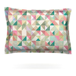 """Kess InHouse - Mareike Boehmer """"Graphic 75"""" Teal Pink Pillow Sham (Cotton, 30"""" x 20"""") - Pairing your already chic duvet cover with playful pillow shams is the perfect way to tie your bedroom together. There are endless possibilities to feed your artistic palette with these imaginative pillow shams. It will looks so elegant you won't want ruin the masterpiece you have created when you go to bed. Not only are these pillow shams nice to look at they are also made from a high quality cotton blend. They are so soft that they will elevate your sleep up to level that is beyond Cloud 9. We always print our goods with the highest quality printing process in order to maintain the integrity of the art that you are adeptly displaying. This means that you won't have to worry about your art fading or your sham loosing it's freshness."""