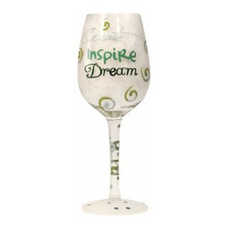 WL - Create; Inspire; Dream Inscription Wine Glass with Green Swirl Design - This gorgeous Create; Inspire; Dream Inscription Wine Glass with Green Swirl Design has the finest details and highest quality you will find anywhere! Create; Inspire; Dream Inscription Wine Glass with Green Swirl Design is truly remarkable.