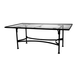 """Classico Rectangular Glass Top Dining Table With 2"""" Umbrella Hole - Dimensions -"""