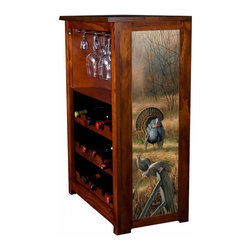 Kelseys Collection - Wine Cabinet 15 bottle Backwoods Rendevous - Wine Cabinet stores fifteen wine bottles and glassware with licensed artwork by Rosemary Millette giclee-printed on canvas side panels  The frame, top, and racks are solid New Zealand radiata pine with a hand stained and hand rubbed medium reddish brown finish, which is then protected with a lacquer coat and top coat. The art is giclee printed on canvas with three coats of UV inhibitor to protect against sunlight, extending the life of the art. The canvas is then glued onto panels and inserted into the frames.