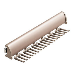 Hafele - Synergy Elite 13.88 in. Tie Rack w Slide in M - Warranty: One year. Made from aluminum and zinc. Made in Canada. 13.88 in. W