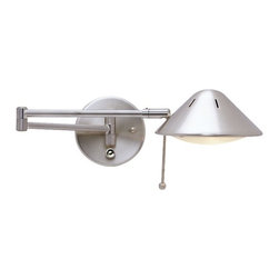 Design Classics Lighting - Swing-Arm Wall Lamp - JW-100 SAT NICKEL - This swing-arm lamp adjusts at the base, elbow and head for easy task lighting. The sleek satin nickel finish adds shine and sophistication. Includes a 6 foot cord and plug, full range dimmer. Takes (1) 100-watt halogen T3 bulb(s). Bulb(s) included. Dry location rated. Fixture is plug-in and comes with cord and plug.