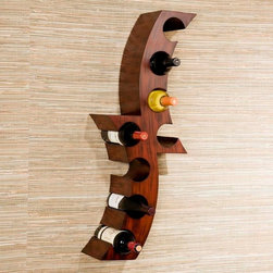 "Wildon Home � - Calabria Wall-Mount Wine Rack - Perfect for dining room or kitchen, this decorative wine rack has an abstract styling. Hand painted with a distressed rust color, the 8-bottle rack can mount on any wall. Crafted from Asian hardwoods, this wine rack is sure to enhance any wine collection. Features: -Abstract style.-Hangs on the wall as easily as a picture.-Holds up to 8 bottles of wine.-Hand painted rust finish.-Distressed finish.-Product Type: Wall mount wine rack.-Finish: Handpainted rust finish.-Distressed: Yes.-Powder Coated Finish: No.-Material: Asian hardwood.-Number of Items Included: 1.-Scratch Resistant: No.-Tarnish Resistant: No.-Mount Type: Wall mounted.-Wine Bottle Capacity: 8.-Lockable: No.-Shelves Included: No.-Lighted: No.-Removable Serving Tray Included: No.-Ice Bucket Included: No.-Wine Glass Storage Included: No.-Glasses Included: No.-Adjustable Levelers: No.-Stackable: No.-Foldable: No.-Removable Bottle Racks: No.-Commercial Grade Welding: No.-Outdoor Use: No.-Commercial Use: No.-Recycled Content: No.-Eco-Friendly: No.-Product Care: Wipe clean with general household cleaners.-Gloss Finish: No.-Solid Wood Construction: No.-Refrigerated Cabinet: No.-Mirrored Back: No.Specifications: -8 Bottle wall mounted wine rack.-UL Listed: No.-cUL Listed: No.-ISTA 3A Certified: No.-ISO 9000 Certified: No.-ISO 14000 Certified: No.Dimensions: -Overall Height - Top to Bottom: 35.25"".-Overall Width - Side to Side: 12.5"".-Overall Depth - Front to Back: 7.25"".-Overall Product Weight: 9.52 lbs.Assembly: -Assembly Required: Yes.-Tools Needed: Phillips screwdriver."