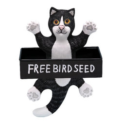 Songbird Essentials - Dangling Black and White Cat Square Metal Tray Birdfeeder - Songbird Essentials' birdfeeders are built around a metal tray with a mesh bottom to allow for proper drainage. Next, we add a hand-carved and painted figure to keep watch while our feathered friends eat. Each birdfeeder is coated with polyurethane to protect them from the elements and comes ready to hang.