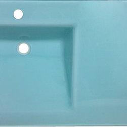Modern Mosaics - Modern Mosaics Glass Vanity Counter Top w/ Intergrated Lavatory Bowl  AQUA - Glass Vanity Counter Top w/ Intergrated Lavatory Bowl.  Tempered Glass Top.  NO BACK OR SIDE SPLASH'S