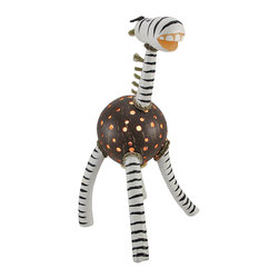 Recycled Coconut Shell Zebra Accent Lamp Night Light - This hand crafted zebra accent lamp adds a wonderful accent to your home, and it makes a great night light in children`s rooms. The body of the zebra is made from a recycled coconut shell with dozens of holes drilled in it to let light shine through, while the head, neck, and legs are made of wood and are hand painted. The lamp uses a night light style bulb (not included), has a rocker on/off switch, and measures 14 � inches tall, 7 � inches long, and 8 inches wide.