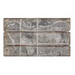 Uttermost - Map Of The City Modern Art - Frameless Oil Reproduction With A Sand Textured Finish Mounted To Wooden Backboard.