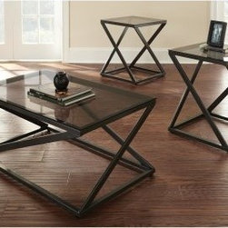 Steve Silver Darius Black Metal and Glass Coffee Table Set - Turn your home into a designer's paradise with the ultra stylish Steve Silver Darius Black Metal and Glass Coffee Table Set. The zigzag styled black metal base offers sturdy and gorgeous support for the tempered clear glass top. Finish your entire room instantly with this set. It includes a cocktail table and two end tables, all matching for the perfect modern look.About Steve SilverSince its founding in Forney, Texas, in 1987, the Steve Silver Company has had a simple focus: to provide the best quality product at an irresistible price, back it up with uncompromising service, and continue to improve every day. As one of the premier suppliers of dining sets and occasional furniture in the country, Steve Silver is proud to make you, the customer, its top priority, utilizing state-of-the-art equipment, proven operating procedures, and over 500,000 square feet of facilities. You'll feel equally proud displaying furniture from the Steve Silver Company in your home.