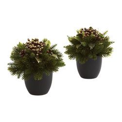 Nearly Natural - Pine & Berries with Black Planter (Set of 2) - Your holiday decorating just got easier with this beautiful pine and berries mix. With crisp pine, lush berries, leafy greens, all nestled into a beautiful black pot, you'll have no trouble figuring out where to display it. In fact, we'll double your options by making this a set of two. Looks great anywhere in your home or office, and makes an ideal gift as well.