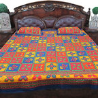 3Pc Block Print Cotton Bedspread - Enhance your bedroom by adding this lively hues of orange, green, blue and maroon color bed cover set from India.