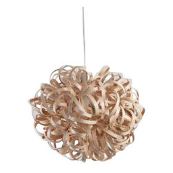 EcoFirstArt - Pendant 1, Oak - This beautifully sculptural form is created with over 80 metres of steam bent strips of wood, woven, coiled and twisted around one another. Whether the light is on or off, this is a unique and stunning lampshade. Each one is handmade, signed and dated. Due to the high number of requests for the light in varying woods, the pendant is now also available in Oak,Walnut,or Ash.