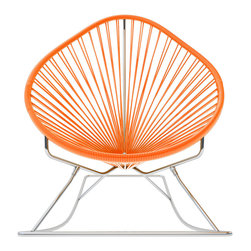 Acapulco Rocker, Chrome Frame With Orange Weave - Sit back and relax in this classic woven rocking chair. The iconic pear-shaped seat is perfect for enjoying a backyard setting, but looks equally stylish inside the home. Pick from a rainbow of colors to match your personality or stay cool with classic black and you can't go wrong.