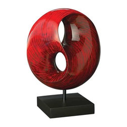 Howard Elliott Red Tubular Sculpture - This sculpture features a round infinity shape and is finished a faux stone red lacquer and is set on a black stand.