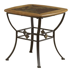 Hillsdale - Hillsdale Lakeview Square Slat Top End Table in Brown and Medium Oak - Hillsdale - End Tables - 4264884 - The Hillsdale Lakeview End Table is constructed of heavy gauge tubular steel solid wood edges climate controlled wood composites and veneers. It features a combination of medium oak wood and coppery brown metal finishes with a slate motif top. With rustic textures and traditional design elements the Lakeview End Table is sure to fit comfortably in your living room.