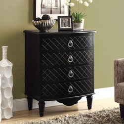 None - Black Diamond Veneer Contemporary Bombay Chest - Add a vintage touch to your home decor with this retro-inspired solid wood chest of drawers. With a bold diamond-shape black veneer and curved drawer fronts,this classy chest will lend a stylish accent to your modern living space.