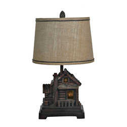 "Crestview - Crestview CIAUP506 Homestead Table Lamp - Homestead Table Lamp Cabin Finish Resin Table Lamp (12 x 14 x 10"" Natural Burlap w/Woven Trim Hardback Shade) 100w max wattage bulb, 7w nightlight bulb 24.5"" Ht."