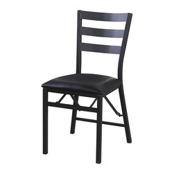 Linon - Linon Arista Folding Chair Wood Back - Add extra seating to any table with the Linon Arista Metal Folding Chair. Crafted from a sturdy metal frame,the chair has a weight limit of 300 pounds. The powder coated dark brown metal finish will complement any decor.