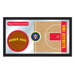 "Holland Bar Stool - Holland Bar Stool Virginia Military Institute Basketball Mirror - Virginia Military Institute Basketball Mirror belongs to College Collection by Holland Bar Stool The perfect way to show your school pride, our basketball Mirror displays your school's symbols with a style that fits any setting.  With it's simple but elegant design, colors burst through the 1/8"" thick glass and are highlighted by the mirrored accents.  Framed with a black, 1 1/4 wrapped wood frame with saw tooth hangers, this 15""(H) x 26""(W) mirror is ideal for your office, garage, or any room of the house.  Whether purchasing as a gift for a recent grad, sports superfan, or for yourself, you can take satisfaction knowing you're buying a mirror that is proudly Made in the USA by Holland Bar Stool Company, Holland, MI.   Mirror (1)"