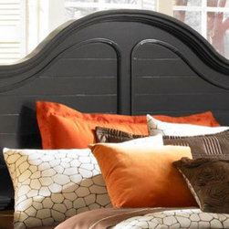 Broyhill� - Mirren Pointe Arch Panel Headboard - Give your bedroom the casual look you love. The Mirren Pointe Arched Panel Bed has a resort-style look with louvered panels and shaped legs. Features: -Finish: Warm chocolate.-Distressed: No.-Gloss Finish: No.-Powder Coated Finish: No.-Non Toxic: No.-Scratch Resistant: No.-Adjustable Height: No.-Nailhead Trim: No.-Lighting Included: No.-Wall Mounted: No.-Reversible: No.-Media Outlet Hole: No.-Built In Outlets: No.-Hidden Storage: No.-Freestanding: No.-Frame Required: Yes.-Frame Included: No.-Swatch Available: No.-Product Care: Never allow water or damp items to sit on your headboard including cleaning cloths, sponges, etc. Never allow alcohol-based products including some cleaners, nail polish and perfumes to come in contact with the wood. They can dissolve the furniture finish on contact, requiring professional repairs. Chemicals in plastic may soften and injure the finish if exposed over a long period of time. Avoid placing hot objects on any furniture surface. Prolonged exposure to direct sunlight can fade the finish, while extreme temperature and humidity changes can cause cracking or splitting. Dust frequently with a clean, damp lint-free cloth to remove abrasive buildup which can damage the finish over time. Occasionally polish with a high-quality non-silicone furniture polish every few months to enhance the beauty of the multi-step finish. Spray the polish onto a clean cotton cloth, apply it to the furniture, and then buff with a second clean, dry cotton cloth. Note that any polish may make a low sheen finish appear more glossy. Avoid oily polishes and waxes. Remove sticky accumulations of skin oils to avoid professional repairs. Wipe the area with a clean cotton cloth dampened with mineral spirits, then buff with a second clean cotton cloth. Touch up small marks and scratches with a marker, scratch remover, or touch-up stick. These can be purchased at any paint store..-Recycled Content: No.Specifications: -Green Guard Certified : No.Assembly: -Assembly Required: Yes.-Additional Parts Required: No.Warranty: -Product Warranty: Limited.