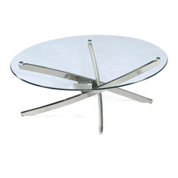 Magnussen Home Furnishings - Zila Oval Glass Cocktail Table - This adjustable oval glass table makes an excellent place to serve your guests a drink. The table is mounted on metal tube legs attached to levelers that will compensate for any tilt in the floor. The legs have a brushed nickel finish.